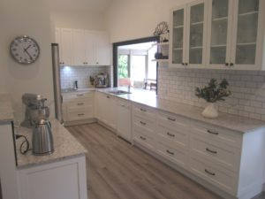 Chapel Hill Shaker Style Doors with Subway Tiles