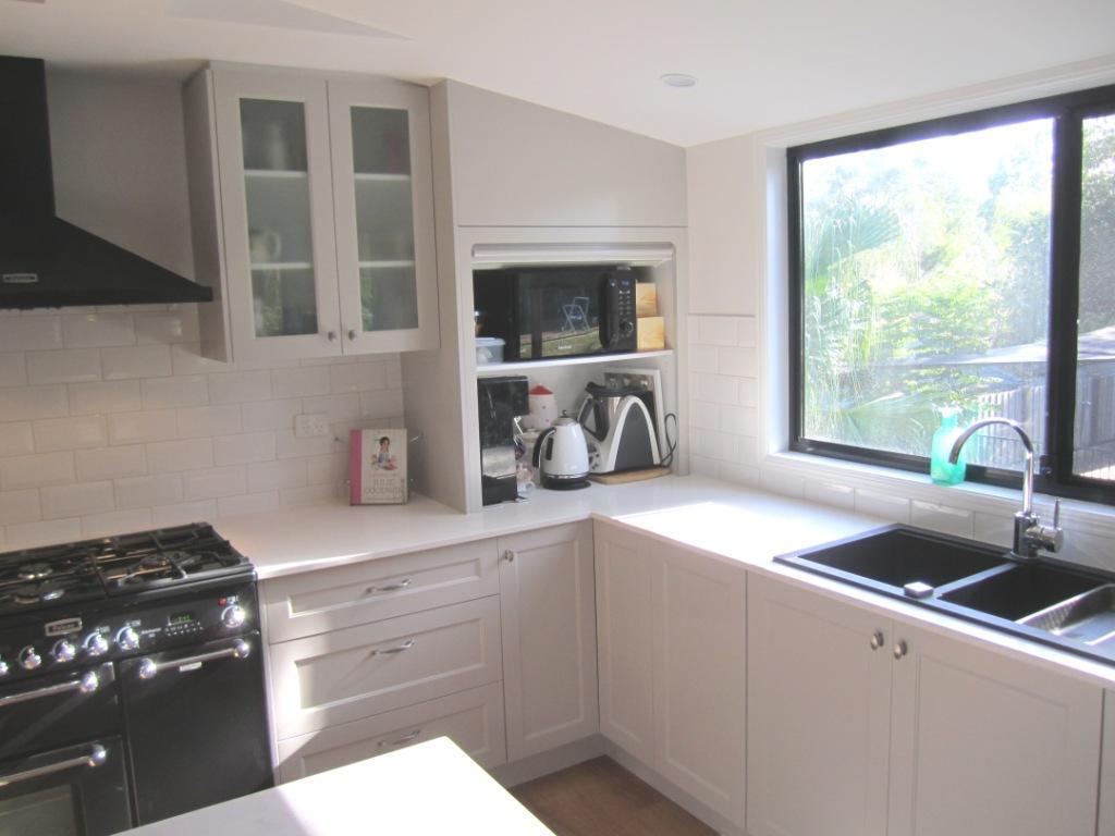 Brisbane Kitchen Design Patterson Shaker Style Kitchen McDowall Appliance Cupboard with Roller Shutter