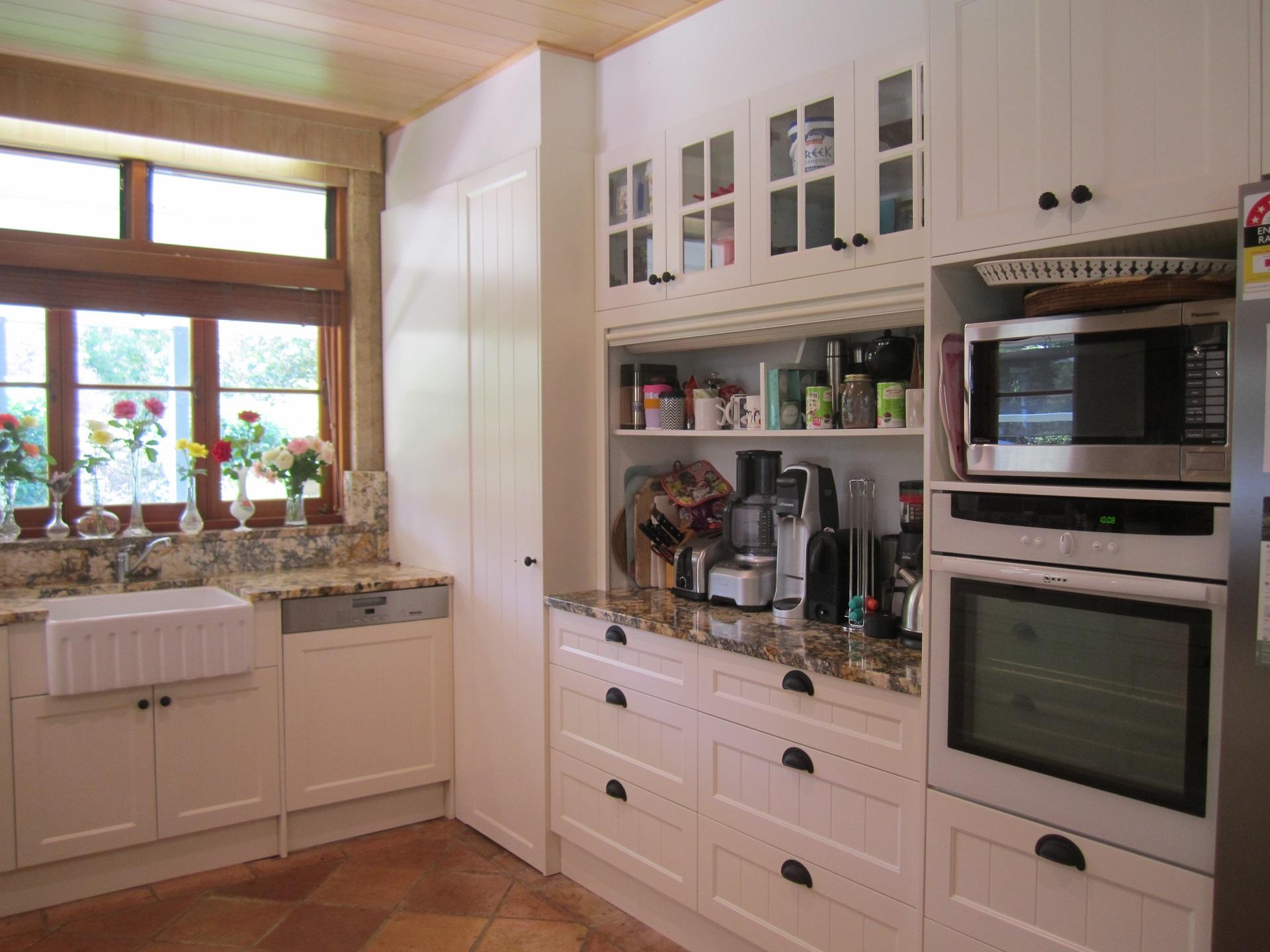 Brisbane Kitchen Design Samford Traditional Kitchen Renovation Appliance Cupboard with Roller Door