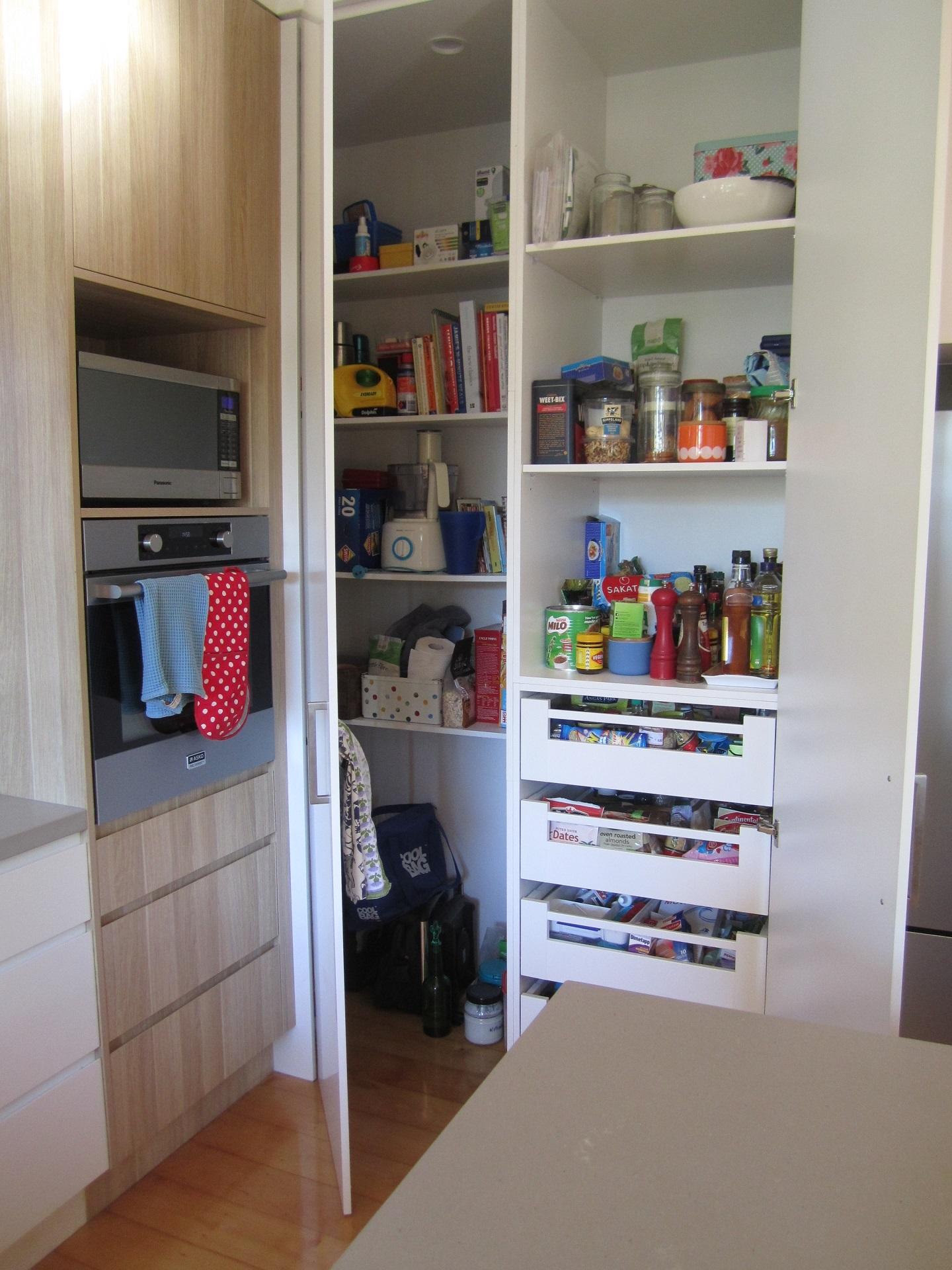 Brisbane Kitchen Design Sherwood Contemporary Kitchen Corner Pantry with Blum Inner Drawers 8
