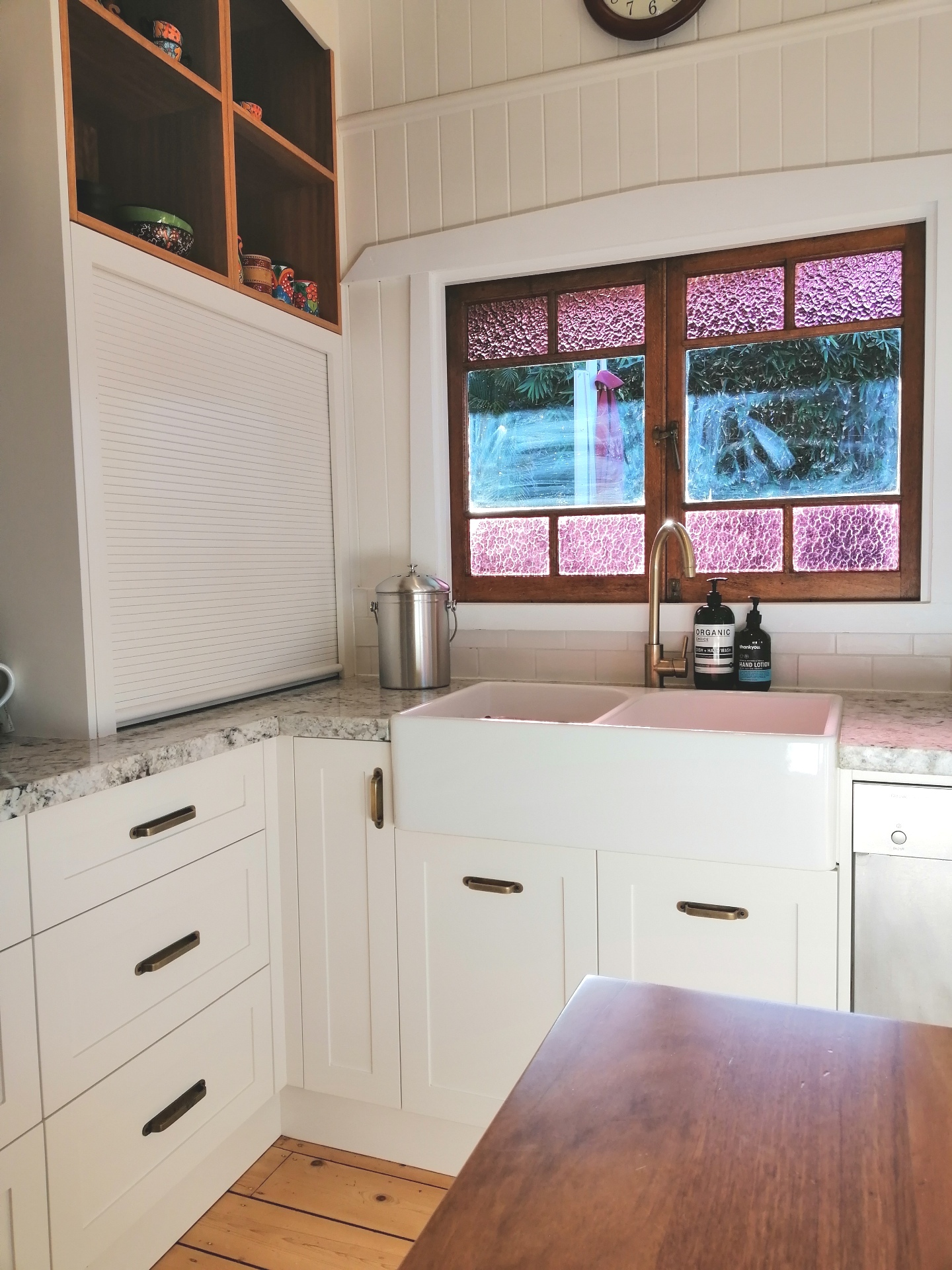 Ashgrove Shaker with Appliance Roller Shutter Farmers Sink Blackbutt Feature Bookshelf