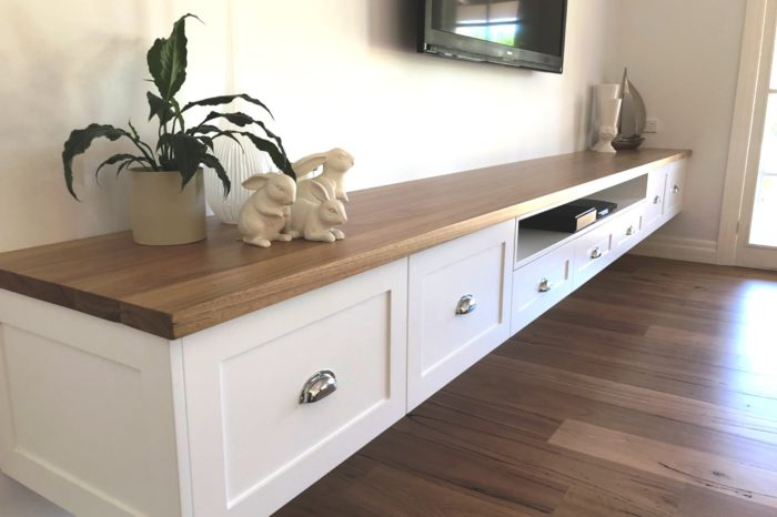 Hamptons Style Entertainment Unit with 2 Pac Shaker Doors and Blackbutt Benchtop