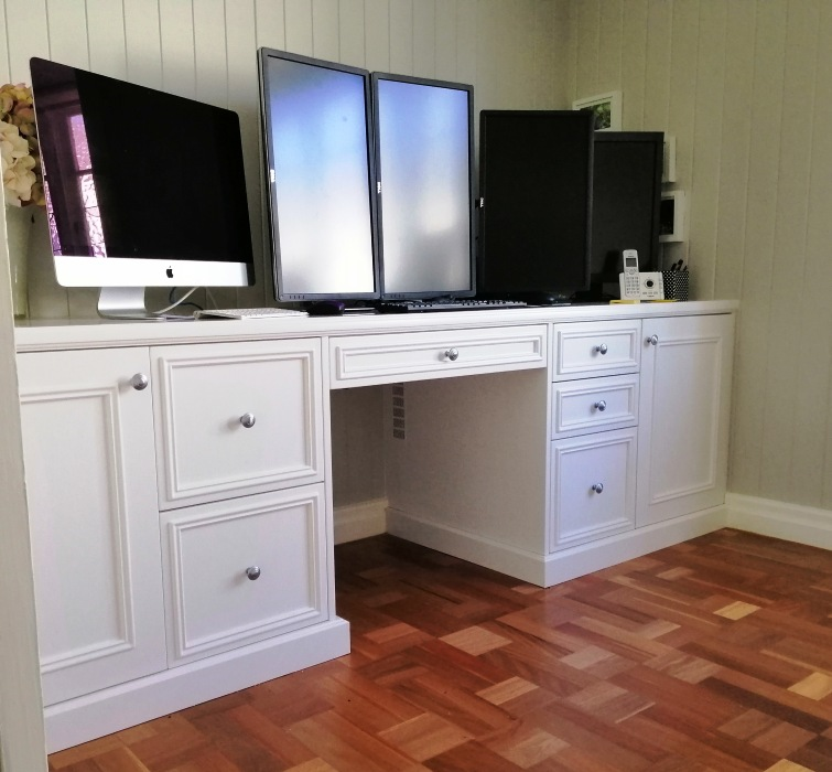 Hamptons Style Custom Office Desk Hamilton with 2 Pac Doors and Benchtop
