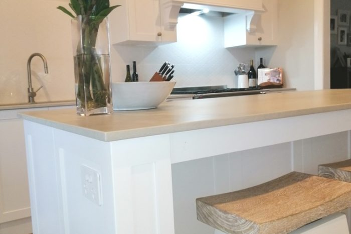 Holland Park Shaker Kitchen with Custom Rangehood with Mantle and Island with Profiled Pillars